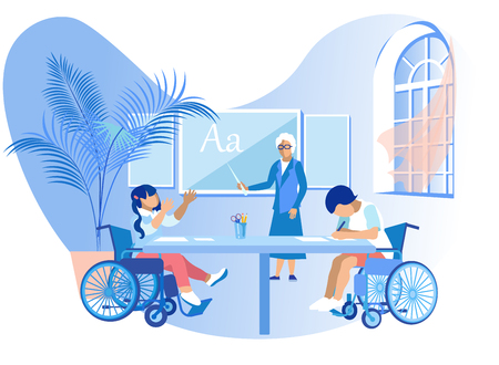 Training for Autistic Children Cartoon Vector. Woman Conducts Psychological and Pedagogical Work Aimed at Correcting Disorders Children. Children with Disabilities are Learning Literacy.