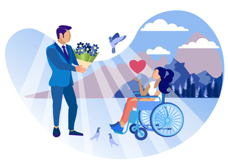 Relationship with Disabled Girl Cartoon Flat. Disability Group and Degree Restriction Affect Personal Life Person. Man is Considered Disabled Girl. Assistance Required. Vector Illustration.