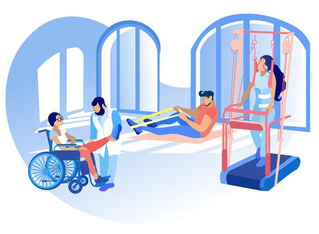 Rehabilitation Behinderter Physiotherapie Vektor. Korrektur oder Ersatz verlorener körperlicher Fähigkeiten des Körpers mit Hilfe therapeutischer oder adaptiver Leibeserziehung. Menschen engagierten sich im Sportunterricht.