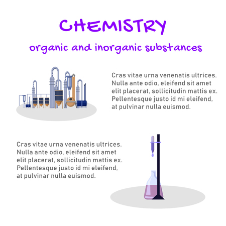 Banner Chemistry Organic and Inorganic Substances. Study Structure, Reactivity and Properties Chemical Elements and their Inorganic Compounds. Vector Illustration on White Background. Illustration