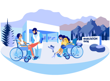 Flache Rehabilitationszentrum-Vektor-Illustration. Psychologische Orientierung ermöglicht es, sich in der Gesellschaft anzupassen, einen unabhängigen Lebensstil zu führen. Frauen in Rollstühlen entspannen in komplexen Wäldern.