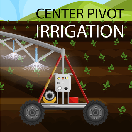Flat Banner is Written Center Pivot Irrigation. Water Wheel Device and Circular Irrigation Soil. Modern Method Watering Crops Field. Vector Illustration, Crops are Watered with Sprinklers.