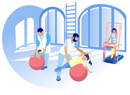 Rozwój fizyczny dla dzieci kreskówka mieszkanie. Personel Centrum Rehabilitacji pomaga dzieciom w adaptacji pełnego życia. Dzieci niepełnosprawne wzmacniają siłę fizyczną niezbędną do poruszania się na wózku inwalidzkim.