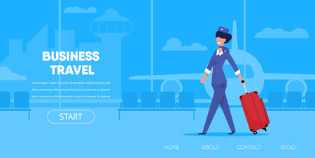 Business Travel Concept. Cartoon Woman Stewardess in Uniform with Suitcase Luggage Airport Terminal Vector Illustration. Internet App Interface Online Buy Flight Ticket Tourism Company