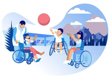 Rehabilitation und Anpassung für Kinder Cartoon. Rehabilitation Physische, sowie psychologische und pädagogische Richtungen. Kinder im Rollstuhl spielen Ball in der Straße. Vektor-Illustration.
