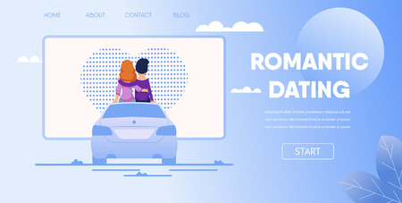 Romantic Dating Concept. Love Couple Boyfriend Girlfriend Sit on Car Watching Movie at Parking Lot. Open Air Drive In Theatre Vector Cartoon Illustration. First Date Romantic Night Outdoors Çizim