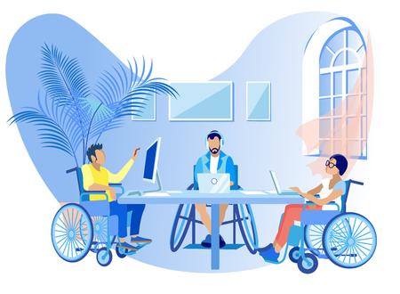 Menschen in Rollstühlen arbeiten online Cartoon flach. Soziale Rehabilitation für Behinderte, Bildung und allgemeine Entwicklung, Bildung, Fähigkeit zur Kommunikation und Interaktion mit anderen Menschen.