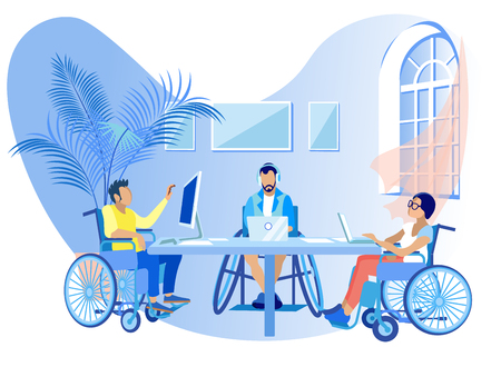 People in Wheelchairs Work Online Cartoon Flat. Social Rehabilitation for Disabled, Education and General Development, Education, Ability to Communicate and Interact with other People.
