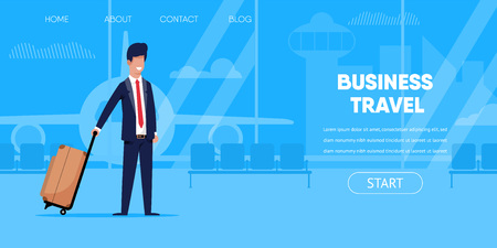 Business Travel Concept. Businessman in Suit Suitcase Bag in Airport Terminal Interior Window Airplane Vector Illustration. Buy Plane Ticket Online Trip Agency Company Application Interface