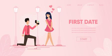 Novio de rodilla con anillo de compromiso hacer propuesta casarse con novia al aire libre ilustración vectorial. Hombre Proponer Anillo Regalo Mujer. Concepto Primera Cita Relación Amorosa Citas Románticas Ilustración de vector