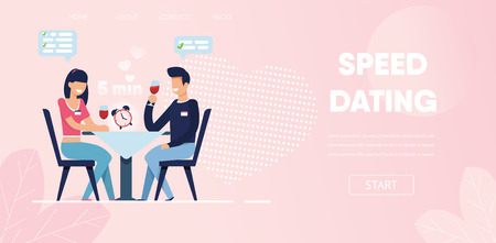 Happy Man Woman Ask Questions Flirt Chat at Restaurant Vector Illustration. Time Limit Clock on Table Blind Date Concept. Cartoon Boyfriend Girlfriend Conversation Romantic Dinner Cafe Ilustração