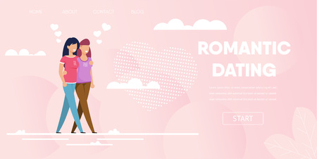 Romantic Dating Concept. Same Sex Gay Female Couple Outdoor Vector Illustration. Happy Woman Girlfriend Partners Hug Walk in Park. Homosexual Freedom Love Date Relationship Marriage