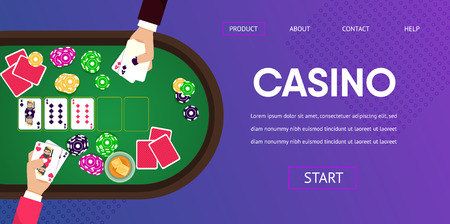 Gambling Table at Casino Male Player Man Croupier Hands with Ace Cards Chip Token Vector Illustration. Online Internet Poker Tournament Match Win Prize Money Banner Gambler Addiction 向量圖像