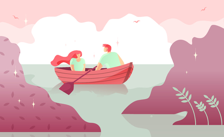 Lovers Man and Woman Boating on River Cartoon. Warm Intimacy Young People. Manifestation Romance for Couples. Vector Illustration Colored Background. Rest on River. Family Tradition Boating.