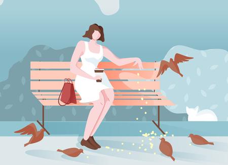 Fille pensive dans le parc s'assoit et nourrit la bande dessinée d'oiseaux. Humeur romantique jeune fille au repos assise sur un banc. Émotions positives lorsqu'une personne communique avec des oiseaux. Nourrir les pigeons dans le parc.