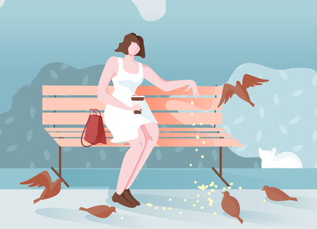 Pensive Girl in Park Sits and Feeds Birds Cartoon. Romantic Mood Young Girl Resting Sitting on Bench. Positive Emotions when Person Communicates with Birds. Feeding Pigeons in Park.