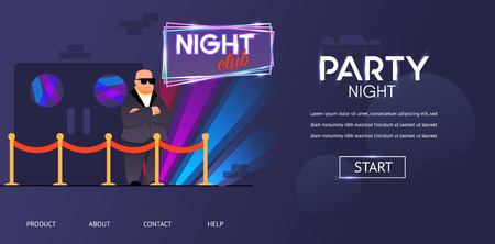 Bald Bouncer in Sunglasses Outside Night Club Entrance Vector Illustration. Cartoon Bodyguard Character at Nightclub Front Door Roped Enter. Face Control Service Dance Party Guest Checking Illustration