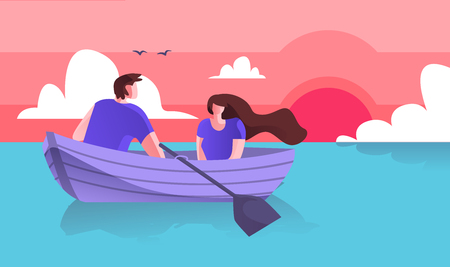 Lovers Guy with Girl Boating on Sea Cartoon Flat. Spend Time Together Riding Boat. Horizontal Vector Illustration on Colored Background. Pleasant and Fondness Joint Romantic Day Trip to Sea.
