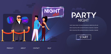 Party Night Security Bald Bouncer Face Control Man Woman near Roped Club Door Vector Illustration. Invitation Guest List Checking at Nightclub Building Entrance. Entertainment Concert Event Illustration