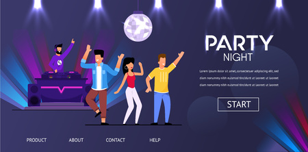 DJ at Night Club Party Play Music People Crowd Dance Vector Illustration. Man Spin Vinyl Record Mix Track Happy Man Woman at Club Disco Ball Nightclub Electrinic Concert Techno Festival