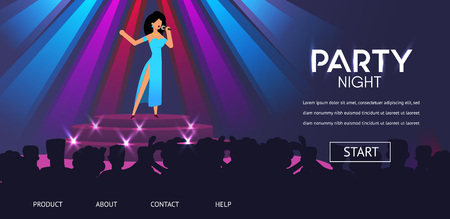 Woman Singer Perfomance on Stage People Crowd Party Night Club Vector Illustration. Girl Sing Pop Song Microphone Karaoke Retro Jazz Band Perform Music Nightclub Show Restaurant Concert
