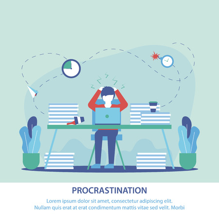 Flat Banner is Written Procrastination at Work. Man Workplace Took his Head, Seeing many Unfinished Business. Motivation for doing Urgent Work. Employee Postal Stress Number Obligations.