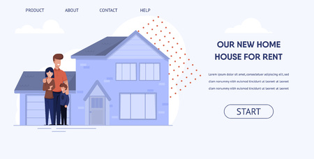 Flat Banner is Written Our New Home House for Rent. Happy Family Rents Comfortable Home for Permanent Residence. House Building with Garage Against Sky and Clouds. Good House Rental Deal. Ilustrace