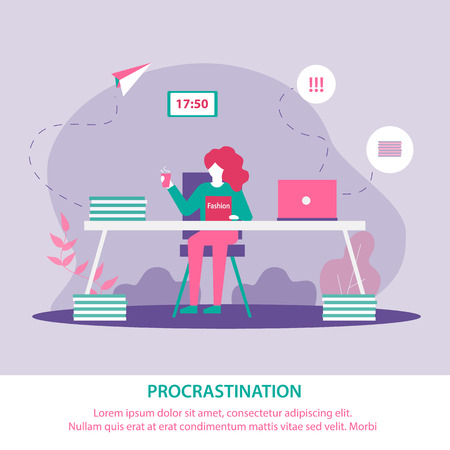 Banner is Written Procrastination in Education. Scattered Girl Does not Comply with Deadline Project. Teenager Girl Examines Journal Instead Completing Assignments. Student Wastes Time.