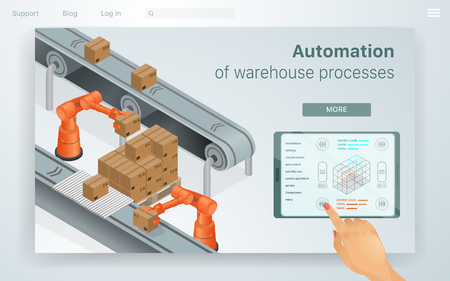 Web Illustration Automation Warehouse Processes. Female Hand Adjusts Machines for Work in Special Warehouse. She does it through her Tablet Convenient Work Management in Enterprise. Modern Buisness. Illustration