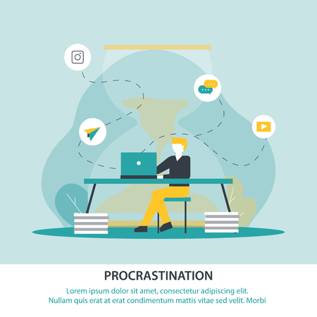 Inscription Procrastination Vector Illustration. Student is Distracted from Learning Social Networks and Correspondence. Young Man Sitting Table and Working Laptop, Violates his Deadline. Illustration