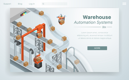 Cartoon Illustration Warehouse Automation System. Conveyor with Parcels in Stock Drones carry away Parcels to Destination Lays Out Boxes in Storage Economically. Work Automated Factory.