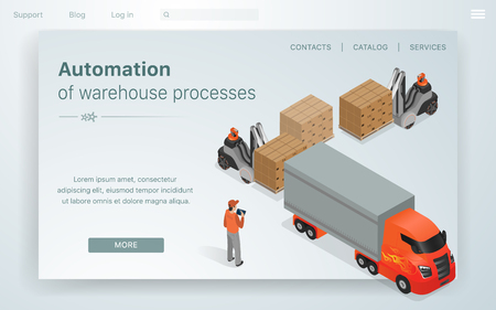 Banner Illustration Automation Warehouse processes. An Employee Company Man Regulates Work Robots in Factory. Loaders Load Large Truck with Boxes. Vector Illustration Landing Page.