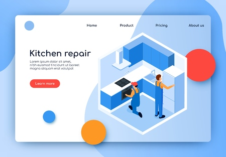 Vector Illustration is Written Kitchen Repair. Finishing Planning. Men Measure Room Kitchen. Selection Optimal Methods Finishing, Selection and Calculation Materials for Minor Repairs. Иллюстрация