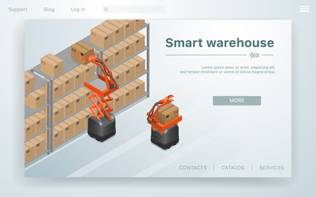 Vector Illustration Smart Warehouse at Factory. Robots are Placing Boxes on New Technology Organizes Goods Parcels. Modern Business, Replacement of Human Power by Artificial Intelligence.