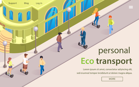 Flat Banner is Written Personal Eco Transport. Street Modern Metropolis, People use Personal Ecological Transport. Men and Women move through Pedestrian Zone on Gyroscooter and board Illustration