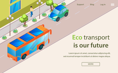 Inscription Eco Transport is Our Future Lettering. Modern Electric Technologies for Public and Private Transport. On Way to Metropolis Runs an Electric Bus and Electric Car, Cartoon. Çizim