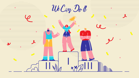 Cartoon Flat Illustration We Can Do it Lettering. Feminist Woman Involved in Male Sports. Woman Large Build Took First Place. Men and Woman are Top Prize. Vector on White Background. Ilustração