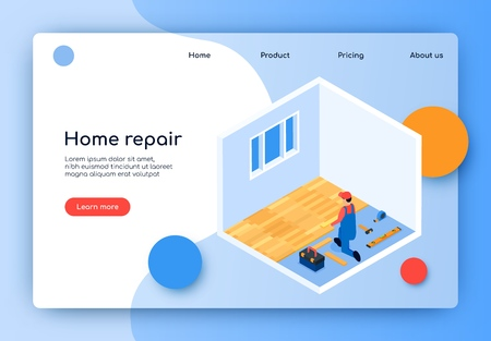 Landing Page Inscription Home Repair Vector Flat. Redevelopment Space. Finishing Room. Man Coveralls Laying Laminate Flooring Apartment. Fashionable Flooring. Isometric Illustration.