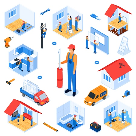 Set Turnkey Apartment Renovation Isometric Flat. Repair Service Prepares Room for Repair. Dismantling Old Finish, Elimination Defects, Repair Problem Areas. Vector Illustration White Background.