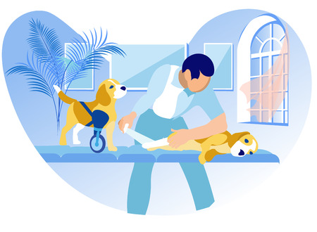 Medical Assistance for Animals with Disabilities. Veterinar Bandages Dogs Paw. Dog with Prosthesis Instead Paw. Veterinary Clinic Prosthetics. Vector Illustration on White Background.