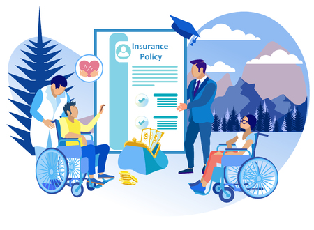 Life Insurance for People with Disabilities Flat. Insurance Agent Works with Rehabilitative Physician Offering Policy to Patient. Insurance Case Injury and Accidents. Vector Illustration.