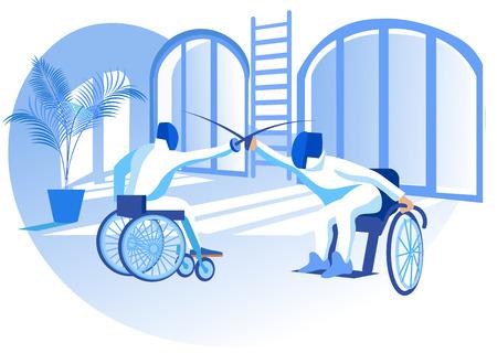 Illustration vectorielle de compétition paralympique à plat. Escrime en fauteuil roulant. Les personnes handicapées portant des vêtements spéciaux font du sport. Le sport pour les personnes handicapées physiques crée des conditions de moyens d'existence. Vecteurs