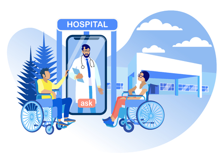 Hospital Rehabilitation for Disabled Vector Flat. Contact Doctor Online. Screen Smartphone Doctor Answers Questions Disabled Men and Women. Cartoon Illustration. Physiotherapy and Sport.