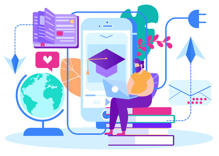 Telecommunications and Internet Lessons Cartoon. Male Teacher Distance Courses Sitting on Book and Working on Laptop. Checking Assignments from Students around World. Vector Illustration. Ilustração