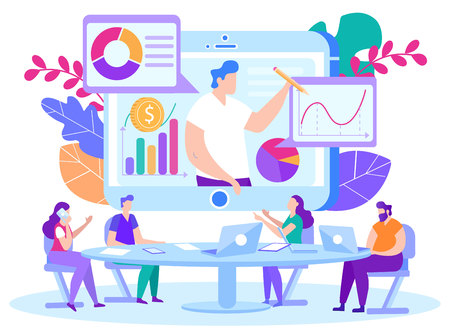 Illustration Student Support Teacher Remotely. Distance Learning for Financiers and Bankers. Staff Development. People Learn Remotely. Screen Man Gives Information using Analysis and Statistics.