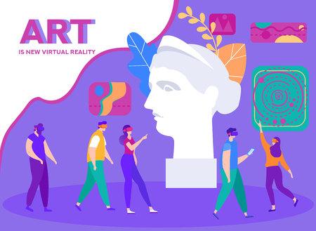 Banner è scritta L'arte è la nuova realtà virtuale. Ragazze e ragazzi utilizzano apparecchiature interattive. Visitare Musei e Mostre con Virtual Tour 3D. Testa di donna scultura antica in primo piano.