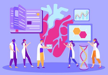Asistencia virtual en dibujos animados de aprendizaje a distancia. Utilice equipos de realidad virtual en la educación médica. Hombres y mujeres reflexionan sobre sus corazones en realidad 3D. Métodos modernos de aprendizaje en línea. Ilustración de vector