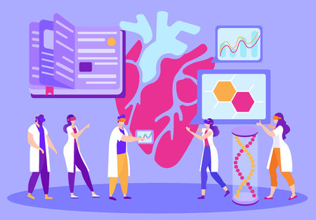 Virtual Attendance at Distance Learning Cartoon. Use Virtual Reality Equipment in Medical Education. Men and Women Ponder their Hearts in 3D Reality. Modern Online Learning Methods. Illustration