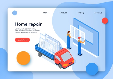 Flat Banner Inscription Home Repair Isometric. Replacement and Installation Plastic Windows. Men Professional Staff Insert New Windows In Apartment. Truck in Back Window. Vector Illustration.