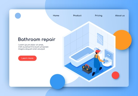 Flat Banner is Written Bathroom Repair Isometric. Modern Repair Work in Bathroom. Qualified Male Specialist on Plumbing Fixes Breakage in Toilet or Cistern. View from above Landing Page. Ilustração